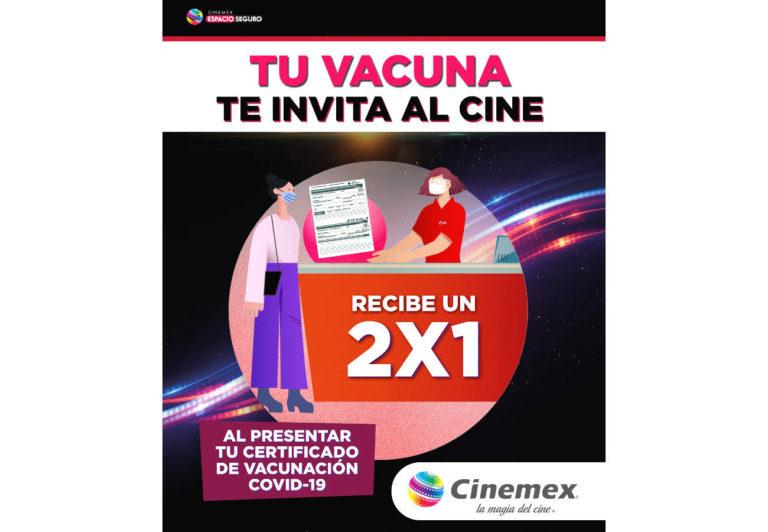 Cinemex promueve la vacunación en México y regala un 2×1 en taquilla