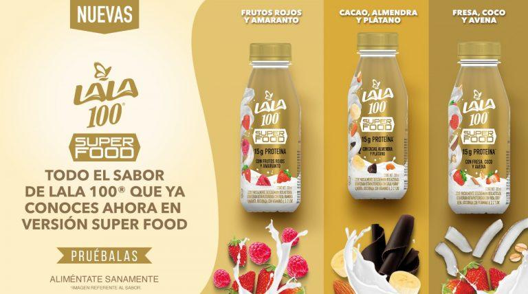 LALA 100 Súper Food, leche sin lactosa y adicionada con más proteína, nuevo lanzamiento