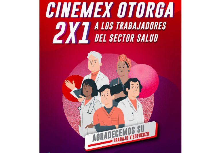 Cinemex anuncia 2×1 al sector salud