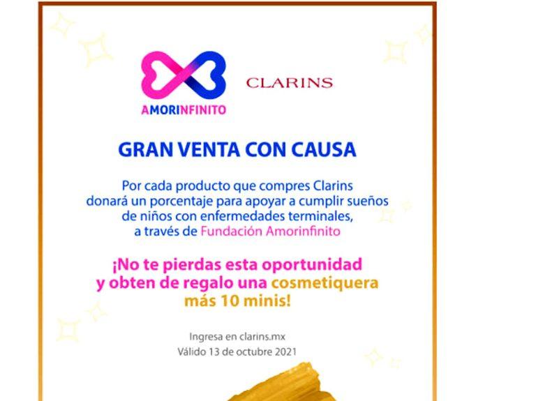 Clarins y Amorinfinito anuncian gran venta anual con causa (13 octubre)
