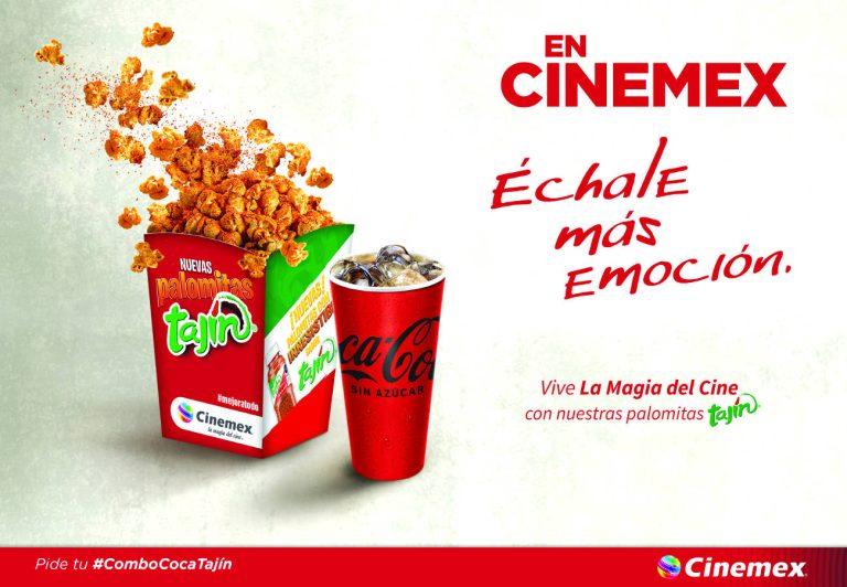 Cinemex y Tajín, presentan su nuevo combo de palomitas con Coca-Cola