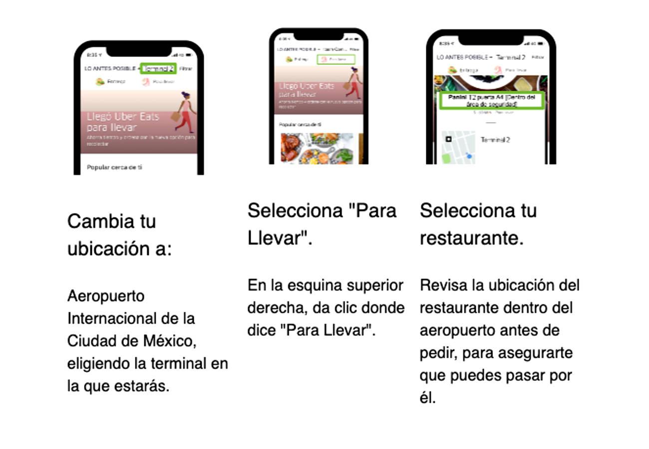 Con Uber Eats, 'Para llevar' por favor!... AHORA en el Aeropuerto de la  CDMX | Conexion 360